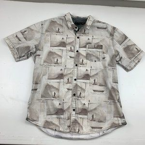 Burnside Surfer Print Button Down Shirt Size XL
